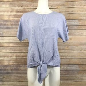 Madewell Tie Front Top Back Buttons Short Sleeve